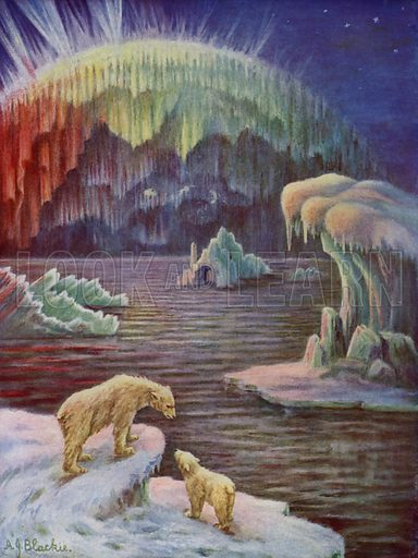 Aurora Borealis, or Polar Lights.  Illustration for The Wonder Book of Wonders (8th edn, Ward Lock, nd).