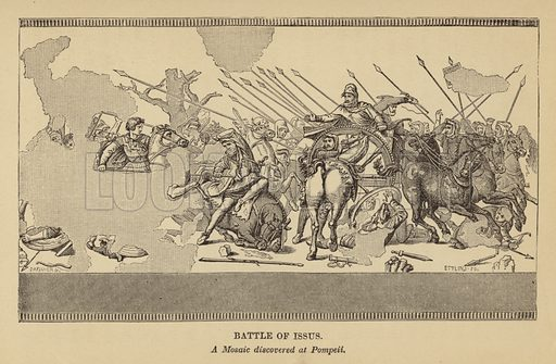 The Battle of Issus, A Mosaic discovered at Pompeii.  Illustration for Wonders of Italian Art by Louis Viardot (Charles Scribner, 1871).