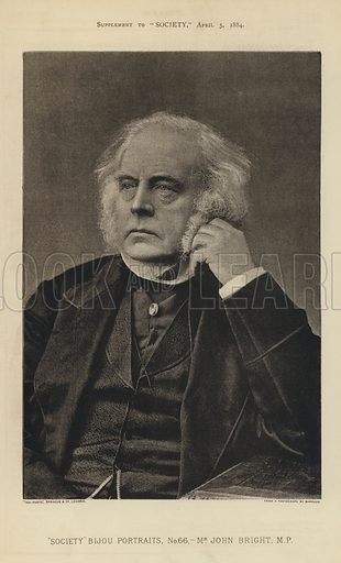 """John Bright, MP.  One of the """"Society"""" Bijou Portraits, issued as a Supplement to """"Society"""", 5 April 1884."""