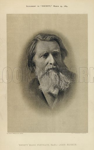 "John Ruskin.  One of the ""Society"" Bijou Portraits, issued as a Supplement to ""Society"", 29 March 1884."
