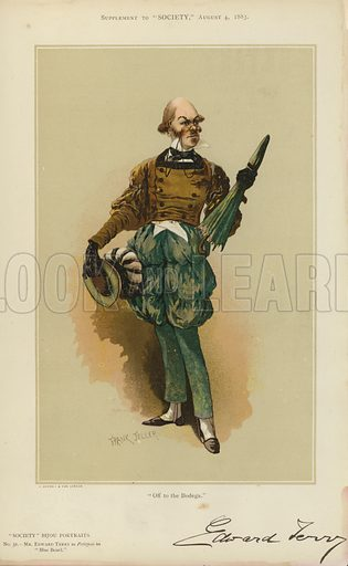 "Mr Edward Terry, as Petitpois in Blue Beard.  One of the ""Society"" Bijou Portraits, issued as a Supplement to ""Society"", 4 August 1883."