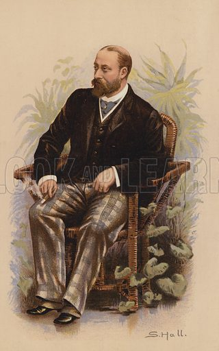 "HRH The Prince of Wales, future King Edward VII.  One of the ""Society"" Bijou Portraits, issued as a Supplement to ""Society"", 19 May 1883."