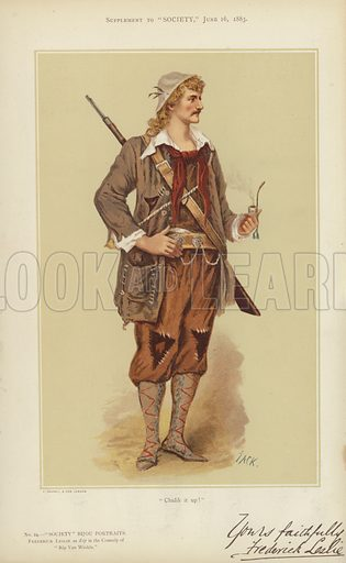 """Frederick Leslie, as Rip in the Comedy of """"Rip Van Winkle.""""  One of the """"Society"""" Bijou Portraits, issued as a Supplement to """"Society"""", 16 June 1883.  Note: Image has been slightly retouched to remove tissue paper."""