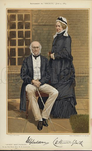 "W E Gladstone and Mrs Gladstone.  One of the ""Society"" Bijou Portraits, issued as a Supplement to ""Society"", 9 June 1883."