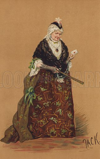 """Mrs Stirling, as Mrs Malaprop, in the Comedy of """"The Rivals.""""  One of the """"Society"""" Bijou Portraits, issued as a Supplement to """"Society"""", 17 February 1883."""