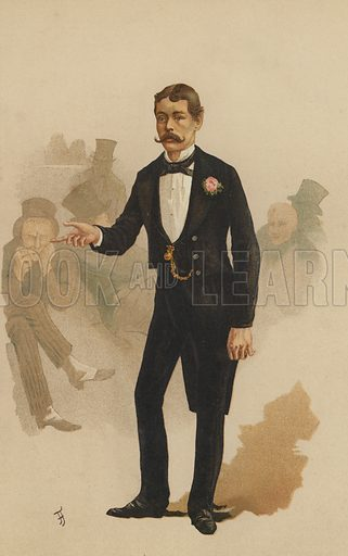 "Lord Randolph Churchill, MP, Member for Woodstock.  One of the ""Society"" Bijou Portraits, issued as a Supplement to ""Society"", 24 March 1883."