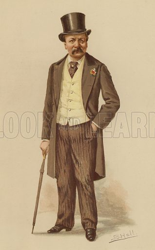 """Mr G A Sala.  One of the """"Society"""" Bijou Portraits, issued as a Supplement to """"Society"""", 14 April 1883."""