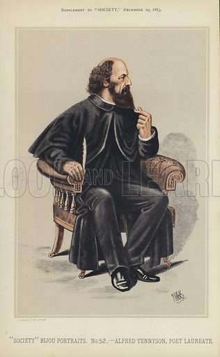 """Alfred Tennyson, Poet Laureate.  One of the """"Society"""" Bijou Portraits, issued as a Supplement to """"Society"""", 29 December 1883."""
