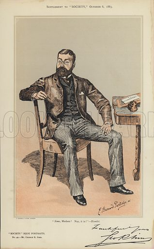 """Mr George R Sims.  One of the """"Society"""" Bijou Portraits, issued as a Supplement to """"Society"""", 6 October 1883."""
