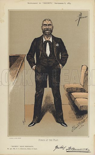 """Mr F C Burnand, Editor of Punch.  One of the """"Society"""" Bijou Portraits, issued as a Supplement to """"Society"""", 8 September 1883."""