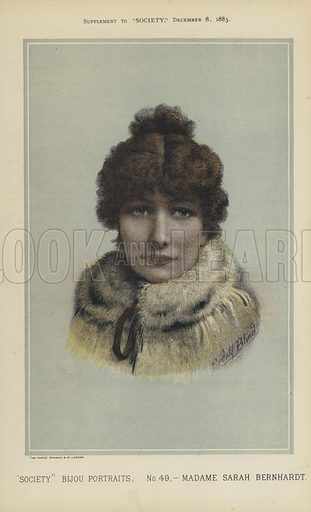 "Madame Sarah Bernhardt.  One of the ""Society"" Bijou Portraits, issued as a Supplement to ""Society"", 8 December 1883."