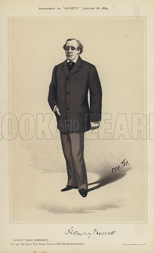 """Henry Fawcett, MP, Post Master General.  One of the """"Society"""" Bijou Portraits, issued as a Supplement to """"Society"""", 26 January 1884."""