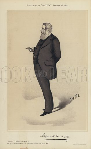 "Sir Stafford Northcote, MP.  One of the ""Society"" Bijou Portraits, issued as a Supplement to ""Society"", 19 January 1884."