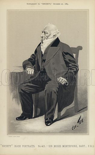 "Sir Moses Montefiore.  One of the ""Society"" Bijou Portraits, issued as a Supplement to ""Society"", 27 October 1883."