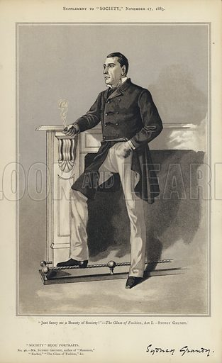 """Mr Sydney Grundy.  One of the """"Society"""" Bijou Portraits, issued as a Supplement to """"Society"""", 17 November 1883."""