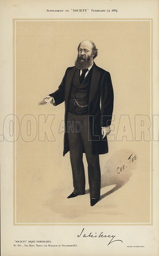 """The Marquis of Salisbury.  One of the """"Society"""" Bijou Portraits, issued as a Supplement to """"Society"""", 23 February 1884."""