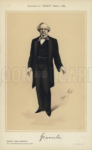 "Earl Granville.  One of the ""Society"" Bijou Portraits, issued as a Supplement to ""Society"", 1 March 1884."