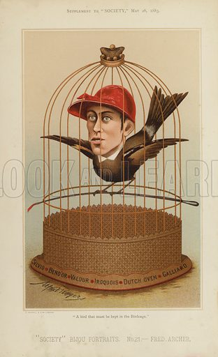"""Fred Archer, jockey.  One of the """"Society"""" Bijou Portraits, issued as a Supplement to """"Society"""", 26 May 1883."""