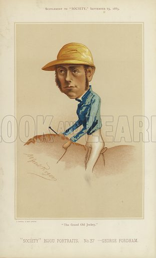 """George Fordham, jockey.  One of the """"Society"""" Bijou Portraits, issued as a Supplement to """"Society"""", 15 September 1883."""
