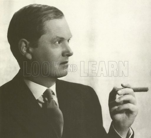 Evelyn Waugh, portrait, smoking cigar.  From later reproduction.