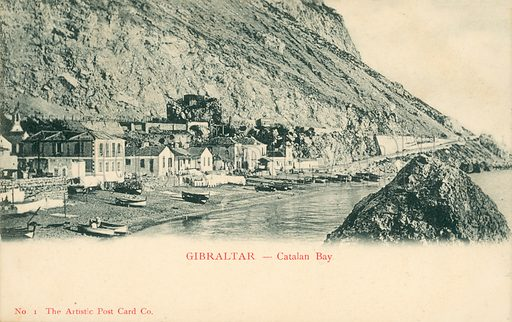 Gibraltar, Catalan Bay.  Postcard, early 20th century.