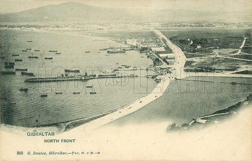 Gibraltar, North Front. Postcard, early 20th century.