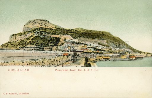 Gibraltar, Panorama from the Old Mole.  Postcard, early 20th century.