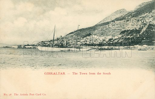 Gibraltar, the town from the South.  Postcard, early 20th century.
