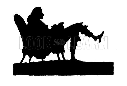 Voltaire, sitting, silhouette.