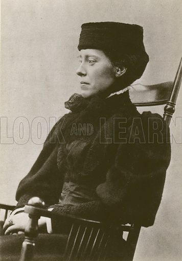 Mary Kingsley, portrait, sitting, wearing hat.