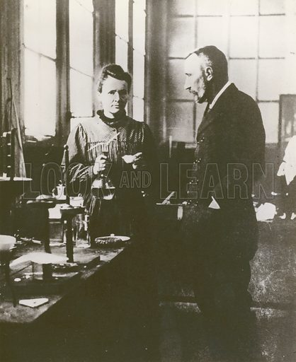 Pierre and Marie Curie, in their laboratory.
