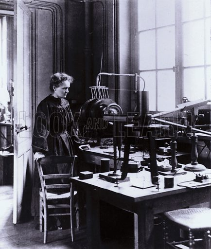 Madame Curie in her laboratory.