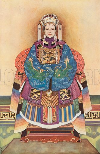 Dowager Empress of China. Illustration for an edition of the Harmsworth History of the World, c 1910.