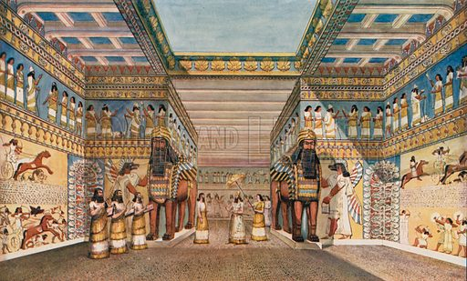 Ancient Assyrian king entering his palace, attended by a eunuch and his vizier, and received by musicians. Illustration for an edition of the Harmsworth History of the World, c 1910.