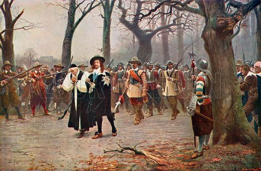 King Charles I on the way to his execution, 1649. Illustration for an edition of the Harmsworth History of the World, c 1910.