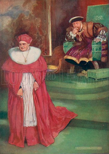 Cardinal Wolsey's last interview with King Henry VIII, 1529. Illustration for an edition of the Harmsworth History of the World, c 1910.