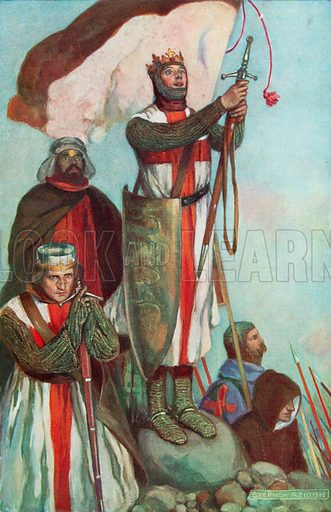 Crusaders sighting Jerusalem. Illustration for an edition of the Harmsworth History of the World, c 1910.