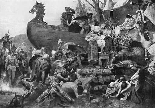 Burial of a Varangian Chieftain. The Varangians were Vikings who settled in Russia and Ukraine in the 9th to 11th Centuries. Illustration for an edition of the Harmsworth History of the World, c 1910.