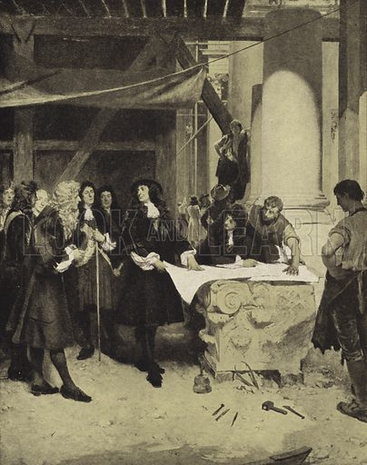 King Charles II visiting Sir Christopher Wren during the building of St Paul's Cathedral, late 17th Century. Illustration for an edition of the Harmsworth History of the World, c 1910.