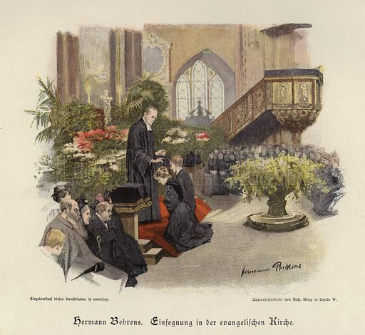 Confirmation service in an evangelical church. Illustration from Zur gute Stunde (Deutsches Verlagshaus Bong & Co, 1895).