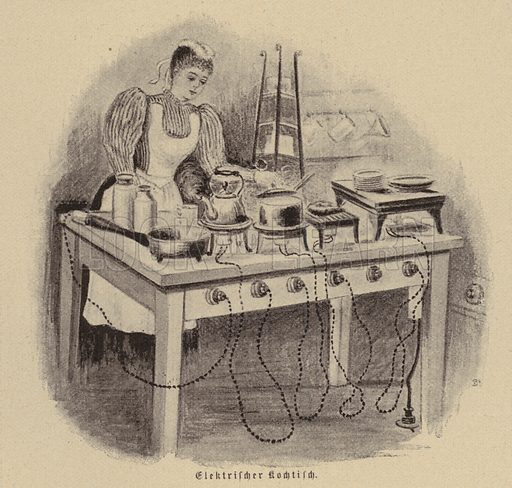 Electric cooking table. Illustration from Zur gute Stunde (Deutsches Verlagshaus Bong & Co, 1895).
