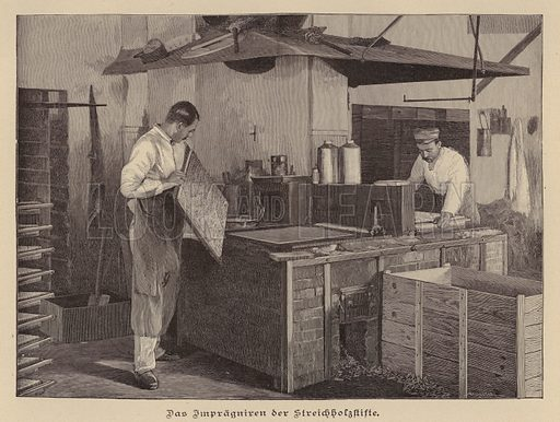 Manufacturing matches. Illustration from Zur gute Stunde (Deutsches Verlagshaus Bong & Co, 1895).