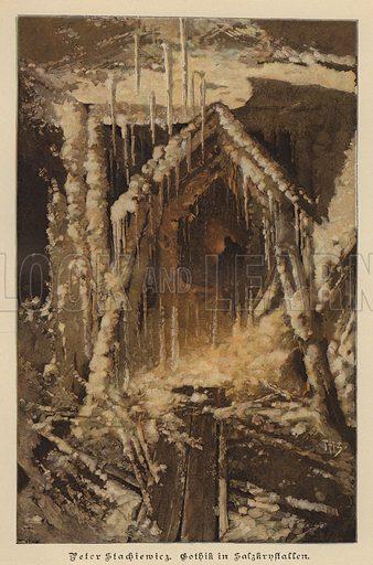 Salt crystals resembling Gothic architecture. Illustration from Zur gute Stunde (Deutsches Verlagshaus Bong & Co, 1895).