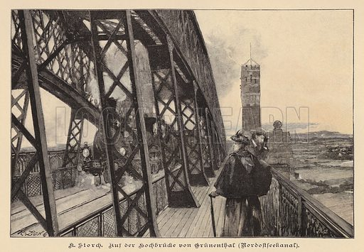 On the Grunental High Bridge over the Kiel Canal, Germany. Illustration from Zur gute Stunde (Deutsches Verlagshaus Bong & Co, 1895).