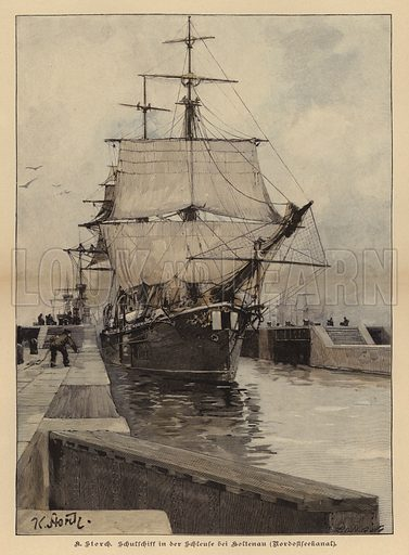Training ship in the lock at Holtenau on the Kiel Canal, Germany. Illustration from Zur gute Stunde (Deutsches Verlagshaus Bong & Co, 1895).