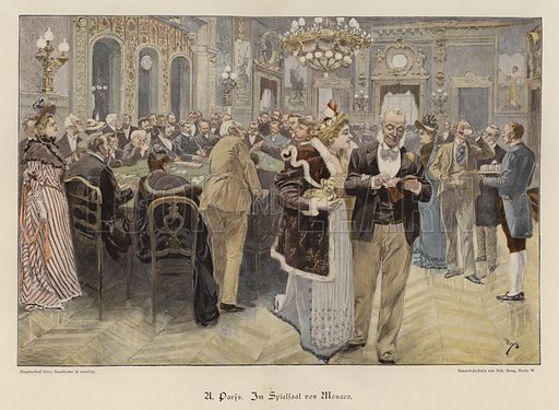 In the Casino of Monaco. Illustration from Zur gute Stunde (Deutsches Verlagshaus Bong & Co, 1895).