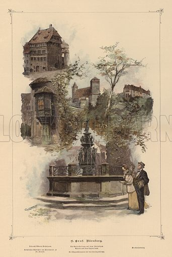 Prominent buildings in Nuremberg, Germany. Illustration from Zur gute Stunde (Deutsches Verlagshaus Bong & Co, 1895).