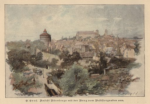 View of Nuremberg and its castle, Germany. Illustration from Zur gute Stunde (Deutsches Verlagshaus Bong & Co, 1895).