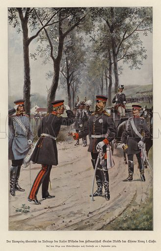 Crown Prince Frederick of Germany awarding Field Marshal Helmuth von Moltke the Iron Cross on behalf of his father, Kaiser Wilhelm I. Illustration from Zur gute Stunde (Deutsches Verlagshaus Bong & Co, 1895).
