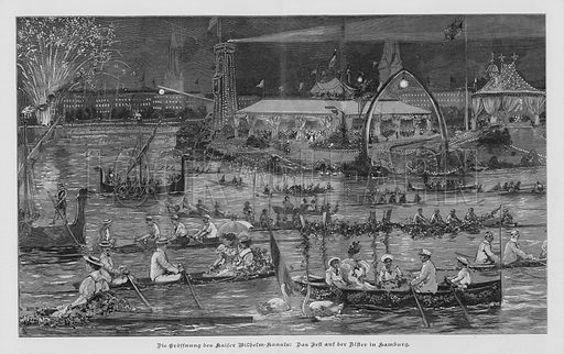 Festivities on the Alster in Hamburg commemorating the opening of the Kiel Canal (Kaiser Wilhelm Canal), Germany, 1895. Illustration from Zur gute Stunde (Deutsches Verlagshaus Bong & Co, 1895).